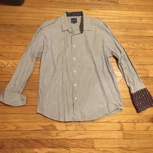 Faconnable striped purple l/s button up - Large